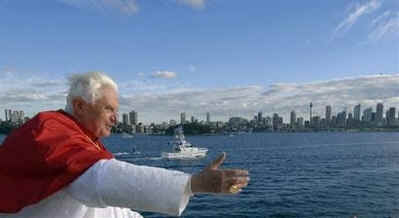Pope Benedict XVI cruises in Sydney Harbor during World Youth Day 2008