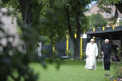 Pope Benedict XVI and his brother Monsignor Georg Ratzinger vacation in the Italian Alps